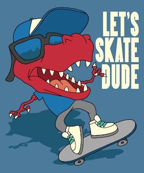Koele dinosaurus die vectorontwerp met een skateboard rijden