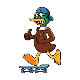 Koele eend met skateboard met grappige pose