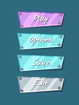 Koele glanzende computer game menu interface-collectie