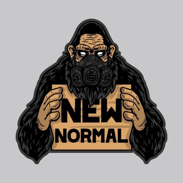 Koele gorilla die een masker gebruikt en een nieuwe normale banner vasthoudt