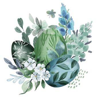 Koele groene bloemenpasen-samenstelling met eieren
