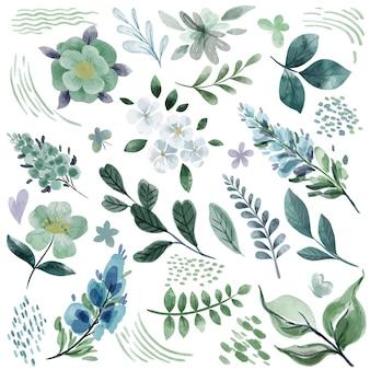 Koele groene botanische bloemenhand getrokken waterverfelementen