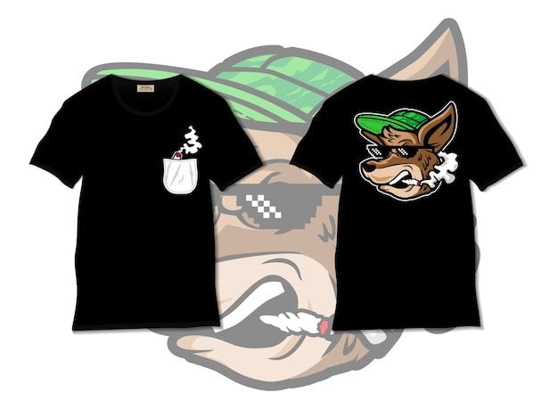 Koele kangoeroe roker illustratie met t-shirt ontwerp, met de hand getekend