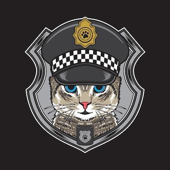 Koele kat die de vintage illustratie van de hoed van de politie draagt