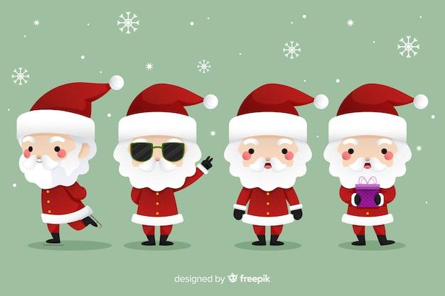 Koele kerstman in plat ontwerp