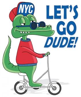 Koele krokodil die een fiets berijdt