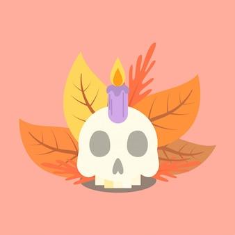 Koele mooie herfst herfst schedel web banner halloween evenement