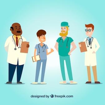 Koele set van cartoon artsen