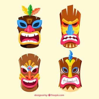 Koele set van kleurrijke tribale maskers