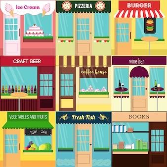 Koele set van vector gedetailleerde flat design restaurants en winkels gevel iconen.