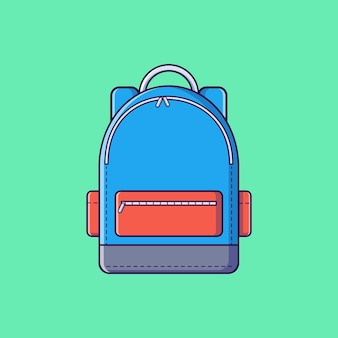 Koele tas voor platte vectorillustratie voor studentenschool