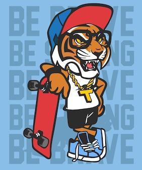 Koele tijger die vectorontwerp met een skateboard rijden