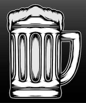 Koele vintage bierglazen geïsoleerd op zwart