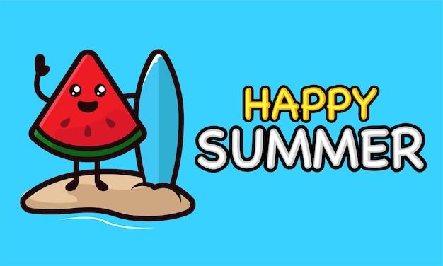 Koele watermeloenmascotte in sjabloon voor spandoek van de zomervakantie
