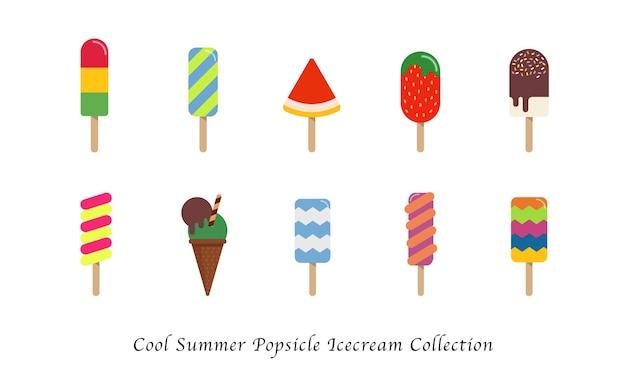Koele zomer ijslollyijs zoete kleurrijke dessertcollectie