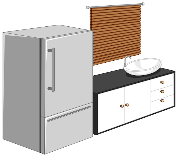 Koelkast met keukenmeubilair op een witte achtergrond