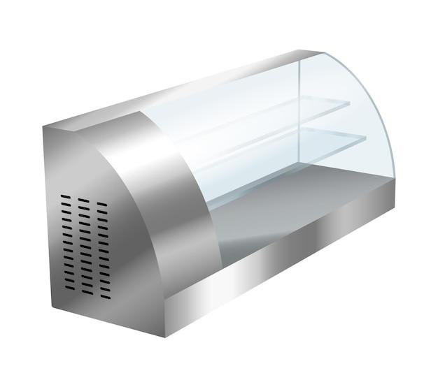 Koelkastvitrine voor café of supermarkt met plank voor voedselkoeling en display. lege realistische koelkast vriezer apparaat 3d-sjabloon. vector illustratie