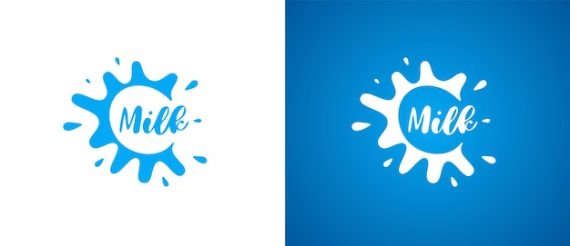 Koemelk product logo. vers natuurlijk melkzuur merkidentiteit logo ontwerp. zuivel splash teken voor bedrijf handelsmerk vector geïsoleerde eps illustraties