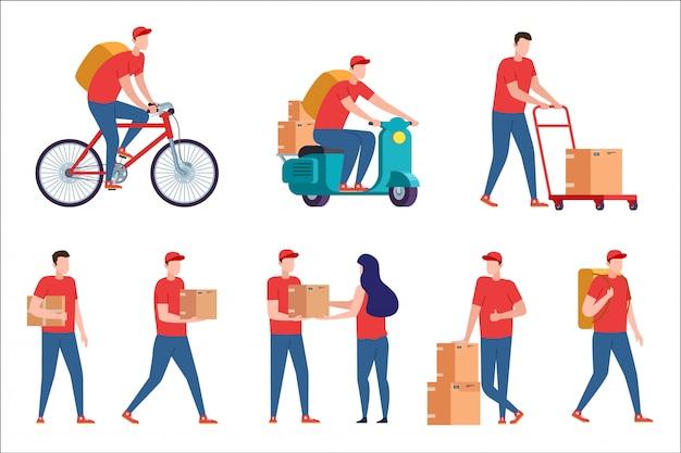 Koerier aflevering. express bezorgservice op scooter en fiets. postbode met pakketbestelling vanuit huis. koerier met pizzadoos bezorgt thuis. bezorger met doos op witte achterzijde.