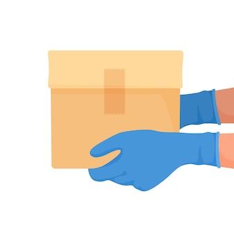 Koerier bezorgde doos met handschoenen aan zijn handen. levering van voedsel in quarantaine. vector illustratie