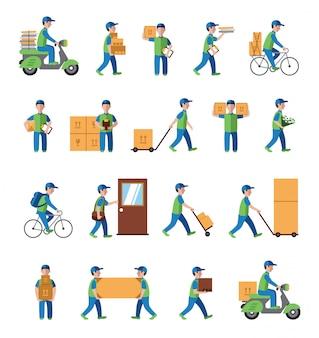 Koerier, bezorging, postbode mensen. vlakke stijl iconen