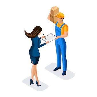 Koerier bezorgt een pakje aan een zakenvrouw, ondertekent documenten aan een man in uniform, illustratie