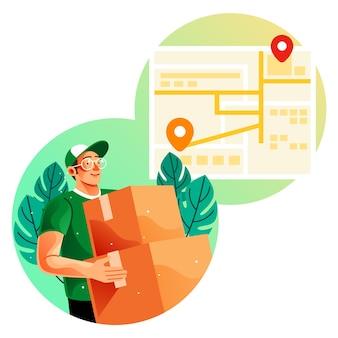 Koerier bezorgt goederen met behulp van een onlinekaartillustratie