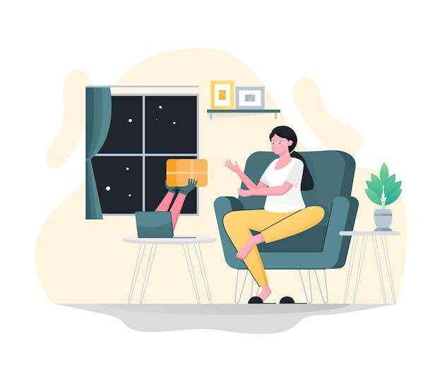 Koerier bezorgt pakketten aan vrouwelijke klanten vanaf laptops, online bezorgservice, snelle levering, vracht, pakket, pakket