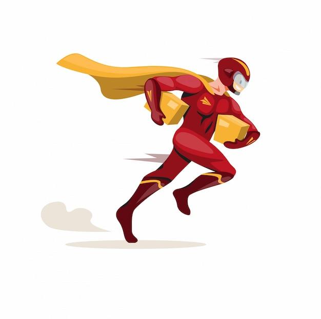 Koerier express mascotte held, superheld koerier met snelle uitvoering pakket leveren aan de klant in cartoon platte illustratie vector geïsoleerd