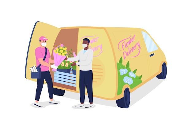 Koerier geeft klant bloemen in de buurt van bestelwagen met gedetailleerde karakters in egale kleur