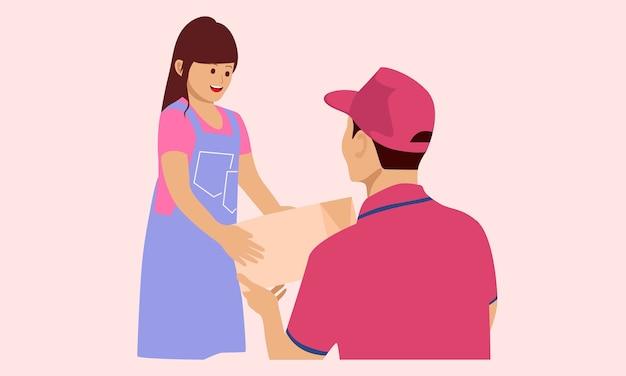 Koerier geeft meisje een pakje
