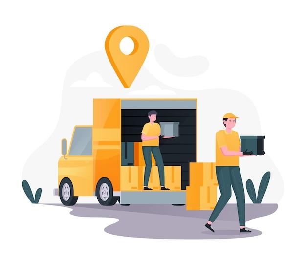 Koerier laadt dozen op bestelwagens, online bezorgservice, snelle levering, vracht, pakket, pakket