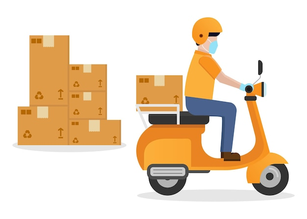 Koerier levering motorfiets service plat ontwerp