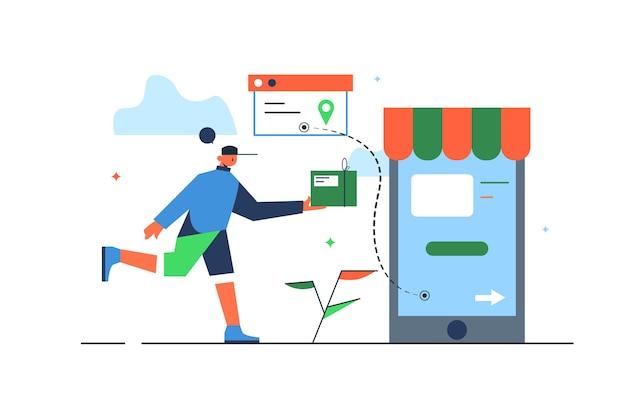 Koerier levert goederen besteld via mobiele winkel, grote telefoon in de vorm van een winkel geïsoleerd op een witte achtergrond, plat