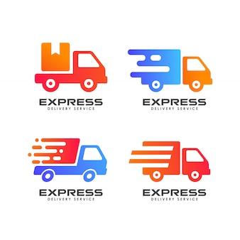 Koerier logo ontwerpsjabloon. verzending logo ontwerp pictogram vector
