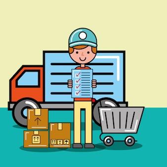 Koerier man checklist kar en pakketten levering