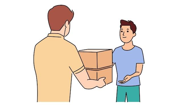 Koerier man levering pakket consument
