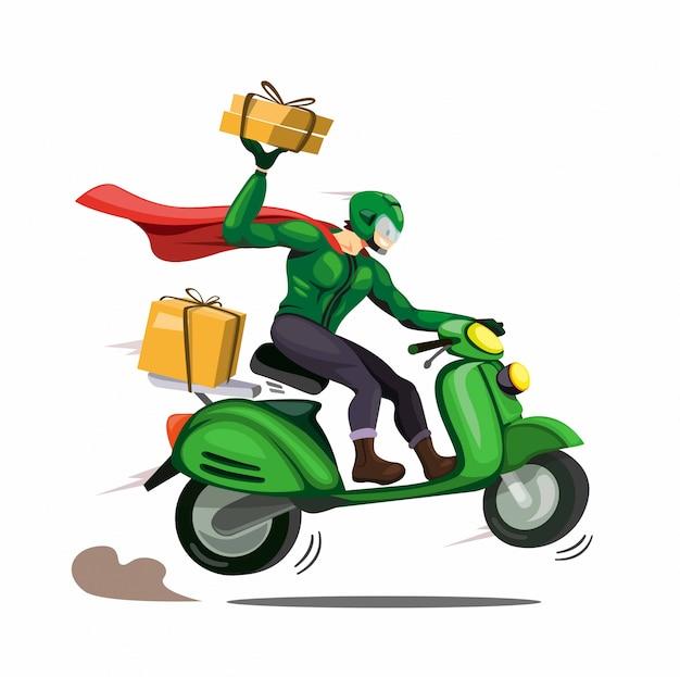 Koerier man met mantel levering pakket aan de klant rijden motor. karakter in cartoon komische illustratie vector geïsoleerd