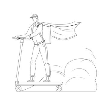 Koerier man rijden scooter bezorgservice