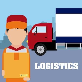 Koerier met doos en vrachtwagen