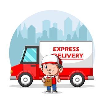 Koerier met doos voor levering expres