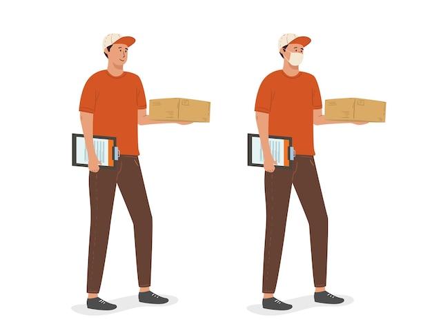 Koerier met het pakket, koerier in een gezichtsmasker met een doos in zijn handen.