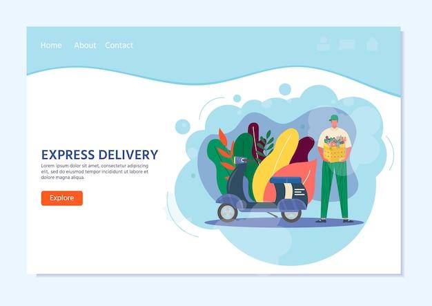 Koerier met scooter in de hand pakket klaar voor snelle levering aan de ontvanger. online levering dienstverleningsconcept. vectorillustratie voor bestemmingspagina met postpakket, pak, doos