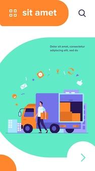 Koerier met vrachtwagen die bestelling aflevert
