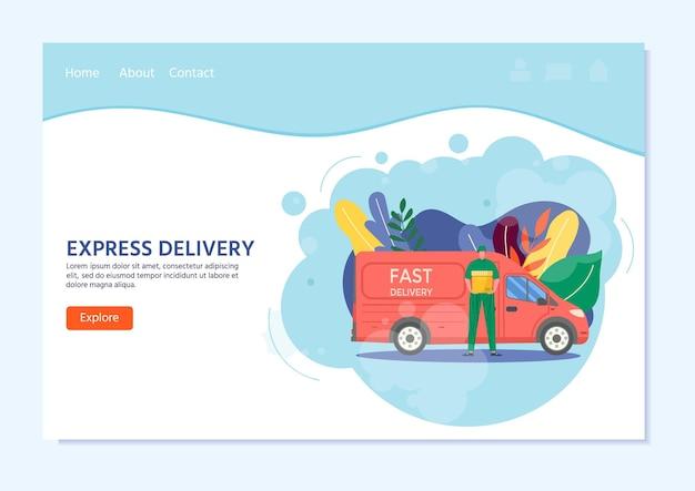 Koerier met vrachtwagen met in de hand pakket klaar voor snelle levering aan de ontvanger. online levering dienstverleningsconcept. vectorillustratie voor bestemmingspagina met postparsel, pack, box