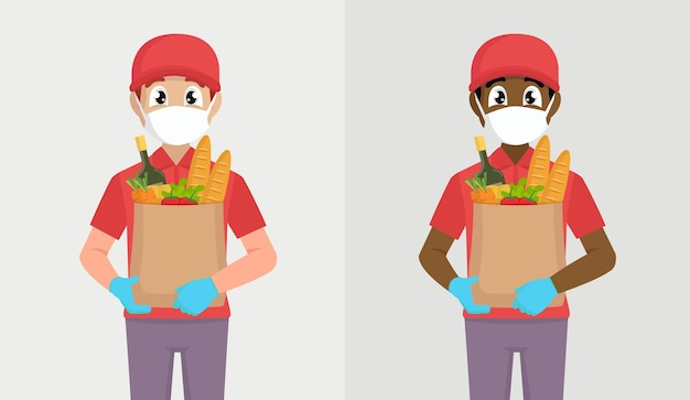 Koerier of bezorger in masker en handschoenen die kruidenierswinkelpak houden