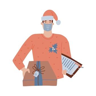 Koerier of bezorger karakter in rode kleren en rode kerstmuts en medisch gezichtsmasker met een pakket van de leveringsdoos. kerst levering concept. vector platte hand getekende illustratie.