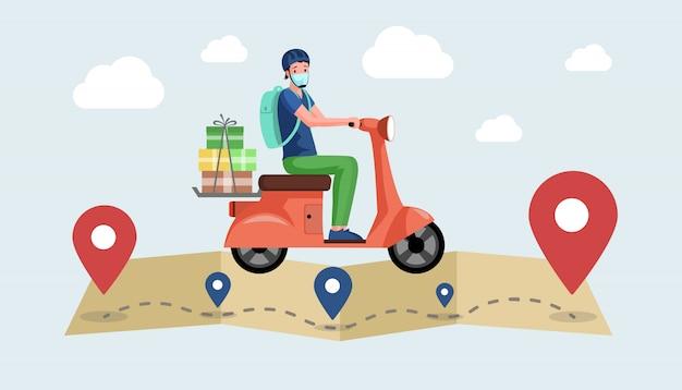 Koerier of vrijwilliger in gezichtsmasker rijdt motor en bezorgt producten uit supermarkt.