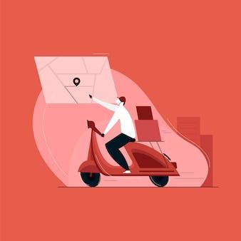 Koerier op de scooter levert het pakket, snelle bezorgservice