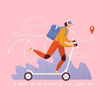 Koerier op een scooter levert bestelling geïsoleerd op roze achtergrond vectorillustratie